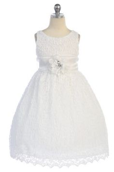 Communion Dress ~ White Floral Lace Overlayed Sleeveless Flower Girl Dress CD-730-WH $62.95