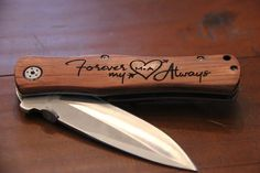Personalized Wood Handle Knife, Request a custom order and we will engrave whatever you want. So many possibilities! #personalized #engraved #knife #giftideas Laser Engraved Gifts, Personalized Wedding Gifts, Customized Gifts, Custom Gifts, Valentines Day Husband, Personalized Pocket Knives, Tree Carving, Gifts For Hunters, Groomsman Gifts