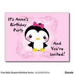 Cute Baby Penguin Birthday Invitation Postcard  http://www.zazzle.com/cute_baby_penguin_birthday_invitation_postcard-239591089795192544?rf=238588924226571373