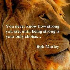 You never know how strong you are. Thanks to Bob Marley, and Words to Inspire the Soul (FB) Life Quotes Love, Great Quotes, Quotes To Live By, Me Quotes, Inspirational Quotes, Inspiring Sayings, Fabulous Quotes, Gorgeous Quotes, Smart Sayings