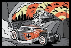 apocalyptic hot rod art by Max Grundy