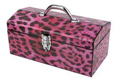 "16"" Sainty Art Works Pink Leopard Art Deco Tool Box $5 + Free In-Store Pickup"