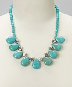 Another great find on #zulily! Pavcus Designs Turquoise & Silver Teardrop Bib Necklace by Pavcus Designs #zulilyfinds