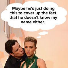 Why Is John Travolta Kissing Scarlett Johansson On The Cheek?