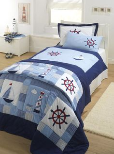 Perfect nautical bedding for the little sailor in your life!