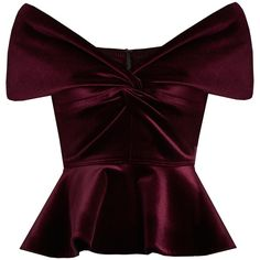 Emilio De La Morena Sassa off-the-shoulder velvet top (36090 RSD) ❤ liked on Polyvore featuring tops, blouses, shirts, velvet, burgundy, purple crop top, peplum blouse, burgundy blouse, off the shoulder shirts and purple shirt