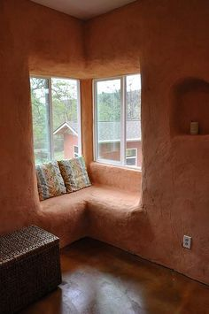 window seat Strawbale construction: 3 times the insulation value of a conventional wall; 3 times more fire proof than a conventional home (yes, you read that right!); lessens pollution by using a waste material that normally contributes significantly to the pollution cycle; ideal building system for the owner builder; incredibly sound proof; able to withstand natural disasters