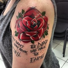 """Dawn of the Dead quotation tattoo, """"when there's no more room in hell.. The dead will walk the earth"""""""