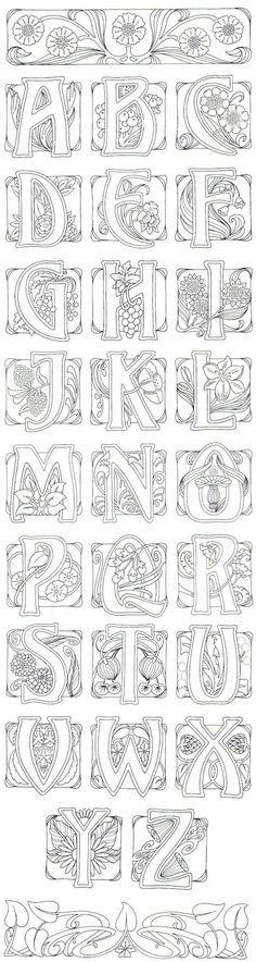 Art Nouveau- art journal idea: illustrate an alphabet.: