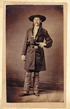 Arguably the first and greatest gunfighter of the Old West, Wild Bill Hickok wears his own clothing in this 1865-66 photo, not a stage costume, like he wore in most of his photos.