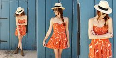 Love the pairing of a sundress and cowboy boots... From www.creaturecomfortsblog.com