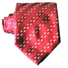 Red jacquard tie with stripes