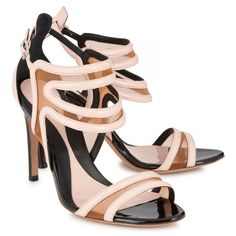 Mesh and patent leather sandals, MCQ Alexander McQueen