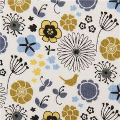 Amazon.com - white flowers and birds fabric by Michael Miller (per 0.5m multiple)