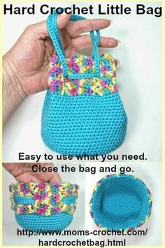 This Little Bag is made using the Hard Crochet technique (easy to learn, free lesson on my website). It's perfect for makeup or a little girl's purse. http://www.moms-crochet.com/hardcrochetbag.html