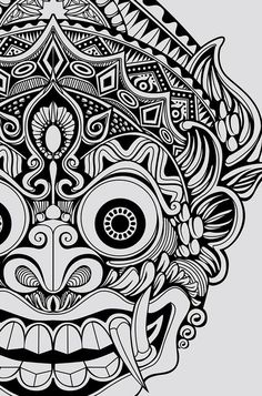 On behance god tattoos, life tattoos, body art tattoos, tatoos, barong bali Mask Drawing, Doodle Art Drawing, Mandala Drawing, Pencil Art Drawings, Art Drawings Sketches, Mandala Art, Tattoo Drawings, Aztec Drawing, Flash Art Tattoos