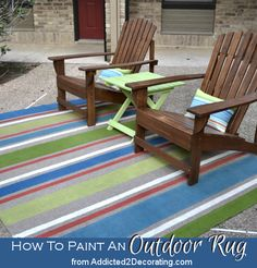 An inexpensive outdoor rug customized with painted stripes.