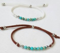 Fine turquoise beaded bracelet Turquoise bracelet with tiny beads This bracelet is very simple and elegant.Tiny beads of genuine turquoise stone and two silver hematite beads, diameter is 4 mm. They… Daha fazlası Sea Glass Jewelry, Wire Jewelry, Beaded Jewelry, Jewelery, Beaded Bracelets, Making Bracelets, Handmade Bracelets, Jewelry Findings, Embroidery Bracelets