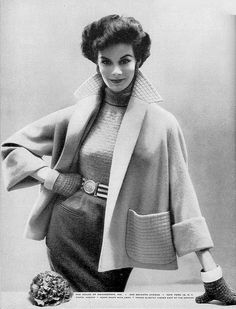 1954 Model in fine worsted fleece jacket by Swansdown, Glamour, February.
