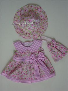 Floral Pink Dress Bag and Hat Teddy bear clothes fit 15 Build a Bear - beautifully made in soft cotton, this pretty little outfit is perfect for our demure little pink bear.