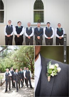gray and green groomsman with rustic boutonniere | CHECK OUT MORE IDEAS AT WEDDINGPINS.NET | #bridesmaids