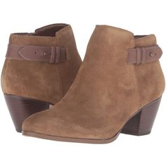 GUESS Geora (Medium Brown Suede) Women's Boots ($78) ❤ liked on Polyvore featuring shoes, boots, ankle booties, ankle boots, suede ankle boots, suede boots, suede bootie and guess? boots
