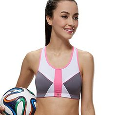 Yvette Contrast Color Cut Out Back Sports Bra #8047,Black/Red,32A ...