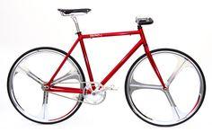 Bicicletta Cromovelata rossa con Ruote Cromate a 3 Raggi