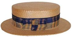 Age: Label: Unidentified Japanese Label, gold-stamped with crowned winged symbol Colour: Tan Straw and Blue Ribbon Materials: Straw and Silk Ribbon Sizing: 7 size; interior dimensions of th Mens Dress Hats, Boater Hat, Hat Sizes, Hats For Men, Vintage Men, Mens Fashion, Flapper Fashion, Fashion 1920s, Vintage Outfits