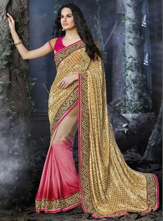 Pink Faux Georgette Saree With Blouse 87383
