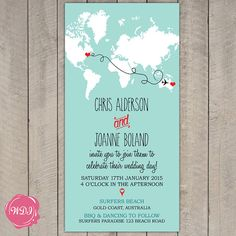 Tell guests about your big day with these travel/destination themed invitation. Fully customizable with countries/locations of your choice, colors, wording etc.  WHAT YOU RECEIVE  This listing is for a fully customizable DIGITAL FILE that you print yourself. No printed items will be mailed to you. DL size (110 x 220 mm)  Please contact me if you require different sizes.  TO ORDER  1. Purchase this listing.  2. Leave me detailed information at the checkout including locations, names, dates…