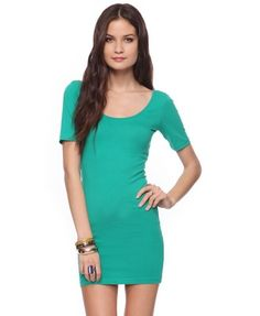 f21 green scoop neck fitted dress