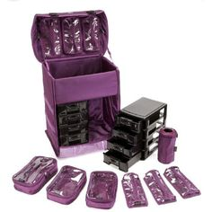 7b7dd9a42c Seya Soft-sided Nylon Modular Professional Rolling Makeup Case w  Removable Makeup  Bags (Purple Nylon)    More info could be found at the image url.