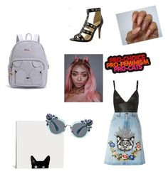 """For all cat lovers"" by jxrew on Polyvore featuring Miu Miu, Gucci and T By Alexander Wang"