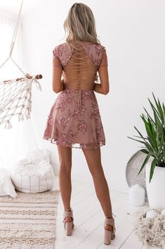 Saskia Embroidery Dress in Dusty Blush - All Your Fashion Musthaves Prom Dress Shopping, Online Dress Shopping, Hoco Dresses, Evening Dresses, Casual Homecoming Dresses, Spring Formal Dresses, Semi Dresses, Backless Dresses, Prom Gowns