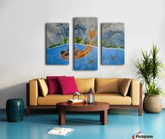 Fun / Fancy Home Decor Items, painting, Triptych Canvas Artwork, Canvas Prints, Painting Canvas, Painting Abstract, Art Prints, Lion Painting, Castle Painting, Blue Artwork, Nautical Painting