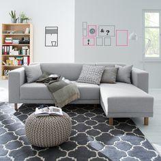 Ecksofa KiYDOO relax - Webstoff - Longchair davorstehend rechts - Silber