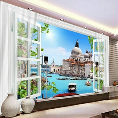 Custom Any Size Mural Wallpaper Curtain Venice City Building Fresco Living Room TV Backdrop Wall Painting Papel De Parede Paper Room Decor, Venice City, 3d Curtains, Sofa Home, Wallpaper Decor, Window View, Wall Stickers Murals, Living Room Tv, City Buildings