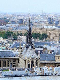 An aerial view of Sainte Chapelle on the Ile de Cite in Paris France.