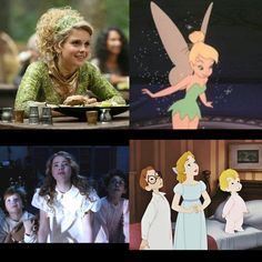 Once upon a time characters matched with Disney (Tinkerbell and the Darling siblings)