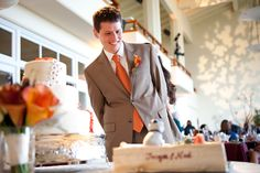 Checking out the Groom's cake