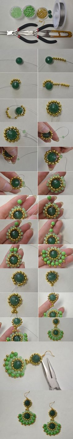 Seed bead jewelry Tutorial on How to Make Gold and Green Round Drop Earrings with Gemstone Beads ~ Seed Bead Tutorials Discovred by : Linda Linebaugh Bead Jewellery, Seed Bead Jewelry, Beaded Jewelry, Handmade Jewelry, Beaded Bracelets, Seed Beads, Jewelry Making Tutorials, Beading Tutorials, Seed Bead Tutorials