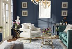 Get inspired by Glam Living Room Design photo by Room Ideas. Wayfair lets you find the designer products in the photo and get ideas from thousands of other Glam Living Room Design photos. Accent Walls In Living Room, Glam Living Room, Living Room Decor, Living Rooms, Furniture Upholstery, Furniture Decor, Paint Upholstery, Upholstery Cleaning, Room Colors