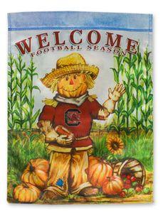 Welcome Football Season USC Scarecrow Garden Flag | underthecarolinamoon.com