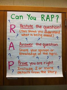 This is a great way to teach students to fully answer questions, and they'd probably remember the RAP saying!