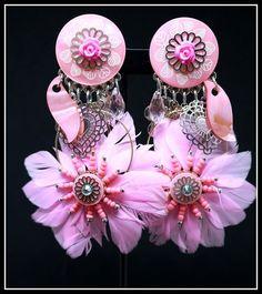 Grandes Boucles d oreilles BIJOUX LOL LOLILOTA PARIS clip fleurs rose perle