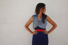 Casual blue Double layer neck dress by Barzelai on Etsy