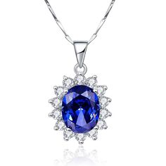Jewels By Lux 925 Sterling Silver Lab-Grown Blue Sapphire /& .01 CTW Diamond 18 Necklace