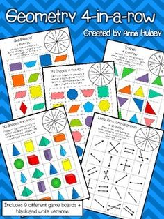 9 different geometry boards (great for vocabulary review) includes black and white versions of each board