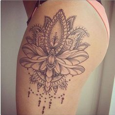 15 Most Alluring Lotus Tattoo Designs To Get Inspired - Huge Lotus design on thigh tattoo triangle - Lotus Tattoo Design, Flower Tattoo Designs, Design Tattoos, Tattoo Flowers, Lotus Design, Mandala Design, Neue Tattoos, Body Art Tattoos, Girl Tattoos